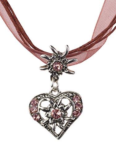Trachtenkette elegantes Herz mit Strass und Edelweiss in vielen Farben - Anhänger Trachtenschmuck Kette für Dirndl und Lederhose Damen (Weinrot) thumbnail