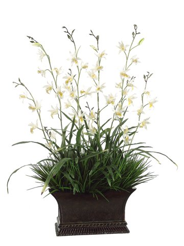 35″ Tropical Artificial White Dendrobium Orchid Silk Flower Arrangement