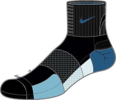Nike Womens Elite Black/Blue Running Cushioned Socks