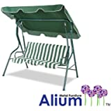 Alium 3 Seater Swing Seat, Green and White Striped, with Frilled Canopy
