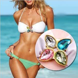 Bella-Kini Sexy Bikini Small Size White bandeau top triangle top withPretty Jewelry and green bikini bottom 2 pcs set swimwear swimsuit