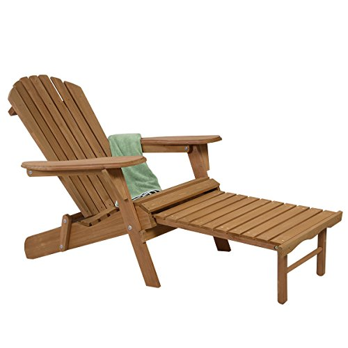 New Outdoor Foldable Wood Adirondack Chair Patio Deck Garden w/ Pull-out (Resin Stacking Adirondack Chair compare prices)