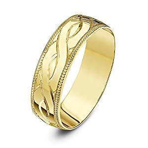Theia 9ct Yellow Gold - Heavy Weight D Shape Celtic Design 6mm Wedding Ring - Size Y