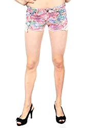 Vanilla Star Pink Tropical Printed Shorts with Crochet