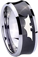 Tungsten Batman the Dark Knight Black Concave Two Tone Engraved Ring  5 8 10 MM  Size 4-15