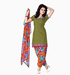 Banorani Womens Poly Cotton Unstitched Dress Material (Gp-1032 _Green & Orange)