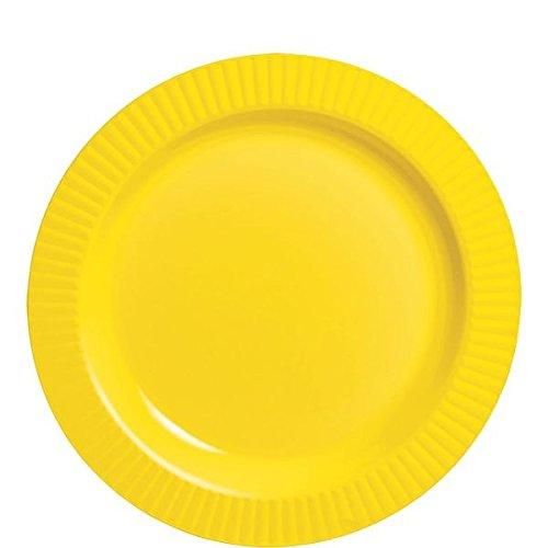 "Disposable Premium Plastic Round Plates (32 Pack), 7-1/2"", Yellow Sunshine"