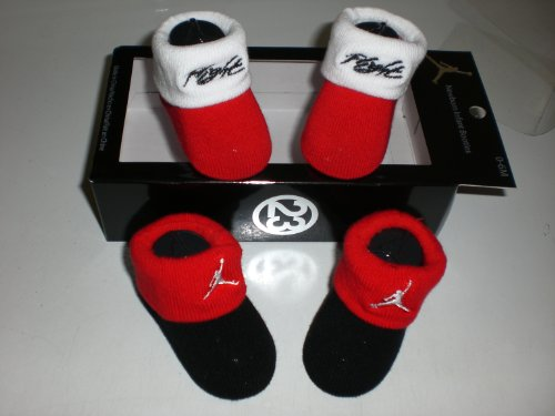 Nike Air Jordan Newborn Infant Baby Booties Black and Red W/classic Jordan Air Jumpman and Flight Logo, Size 0-6 Months