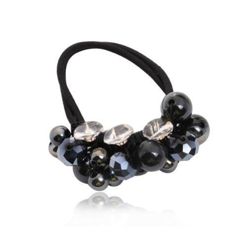 Digabi Women's Handmade Fashion Hair Ring with Plastic Beads and Crystal Ponytail Elastic Holder Hair Head band Color Black