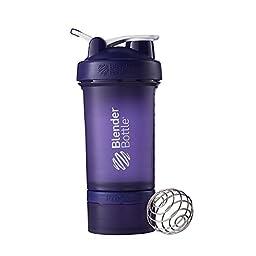 BlenderBottle ProStak System with 22-Ounce Bottle and Twist n\' Lock Storage, Purple/Purple
