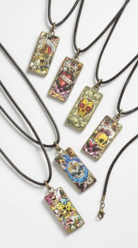 Boys / teenage retro tattoo pendant necklace