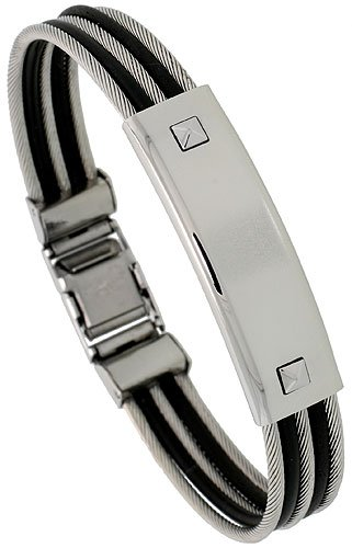 8 1/2 in. Gent's Stainless Steel Cable & Rubber ID Bangle Bracelet, 7/16 in. (12 mm) wide