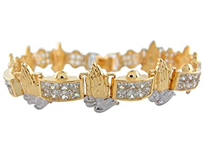 10k Two-Tone Gold Stunning White CZ Pave Links Praying Hands Religious Bracelet