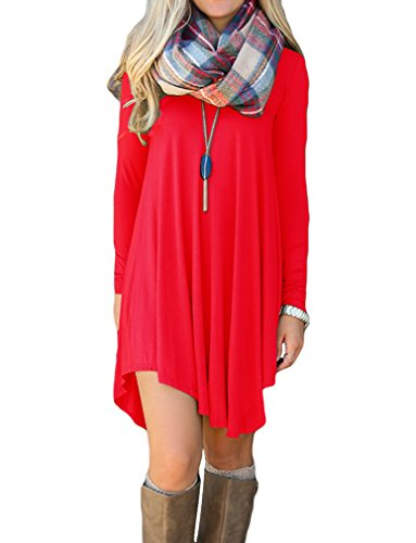 POSESHE Women's Long Sleeve Casual Loose T-Shirt Dress (L, Red)