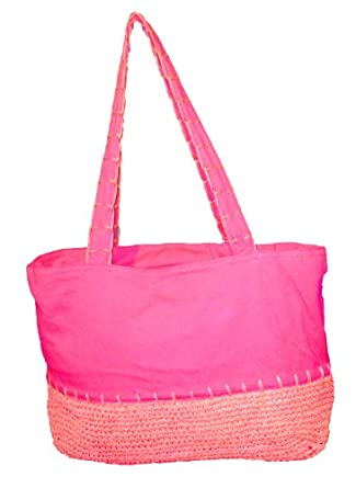 Large Canvas - Straw Like Beach Bag Tote (HOT PINK)