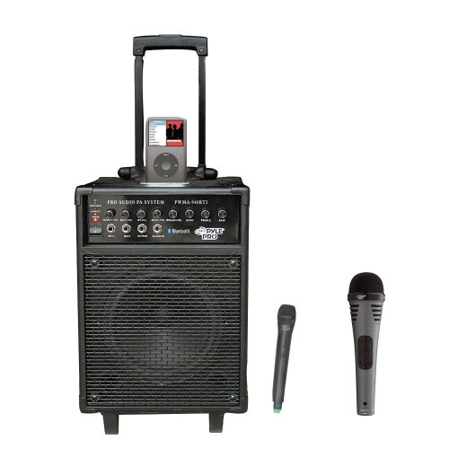 Pyle Speaker And Mic Package - Pwma940Bti 600 Watts Vhf Wireless Portable Pa System W/Microphone,I-Pod Dock & Bluetooth - Pdmik2 Professional Moving Coil Dynamic Handheld Microphone
