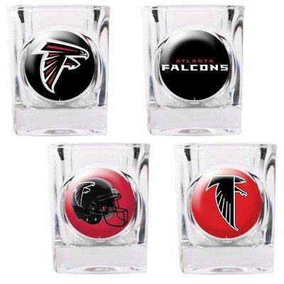 NFL Atlanta Falcons Four Piece Square Shot Glass Set (Individual Logos)