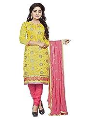 Divya Emporio Unstitched Cotton Silk Salwar Suit Dupatta(DE-015_Yellow)