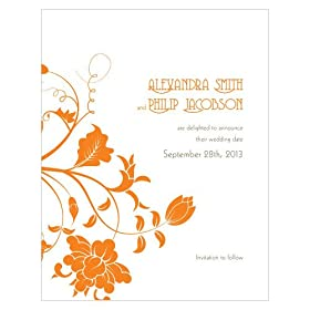 Baby Keepsake: Floral Orchestra Save The Date Card - Tangerine Orange (Set of 24)
