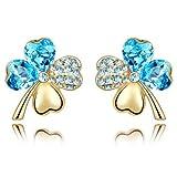 LovingtheBead© Highest Quality Fashionable 'Aquamarine Crystal' Four Leaf Clover Gold Plated Stud Earrings