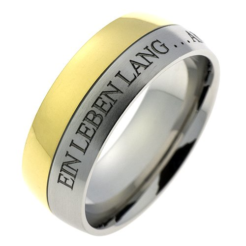 Schumann Design Ehering / Trauring / Partnerring core.emotion Edelstahlring Bicolor PVD beschichtet mit Aussengravur Ein Leben lang an deiner Hand… TE300.54