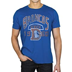 Denver Broncos NFL Mens Junk Food Vintage Kick Off Crew T-shirt Blue by Junk Food