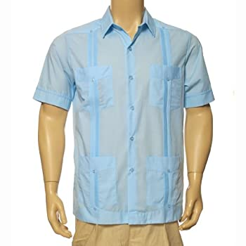 Men's guayabera polycotton short sleeve