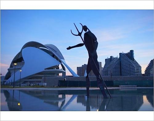 Photographic Print Of Sculpture And Palau De Les Arts In The Background At Dusk