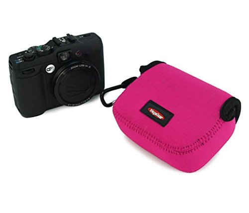 MegaGear ''Ultra Light'' Neoprene Camera Case Bag with Carabiner for Canon PowerShot SX610 HS Digital Camera (HotPink)