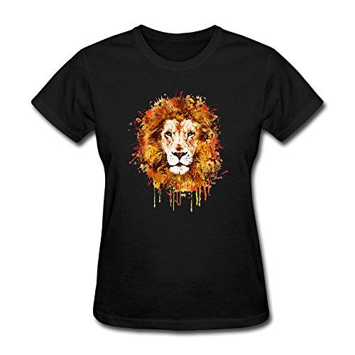 Sunflower Women T Shirts Funny Woodcut Lion Head Black SizeL
