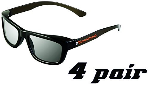 eDimensional Real-D Circular Polarized 3D Glasses for Passive 3D Televisions, 4 Pairs