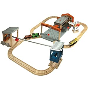 Thomas And Friends Wooden Railway Diesel Works Set With Percy