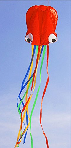 Wings.Big And Beautiful Large Easy Flyer Software Octopus Kite Perfect For Beach Or Park,31 Inch(Red&Colors)