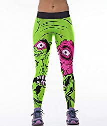 iSweven Green eyes Design Printed Polyester Multicolor Yoga pant Tight legging for womens girls