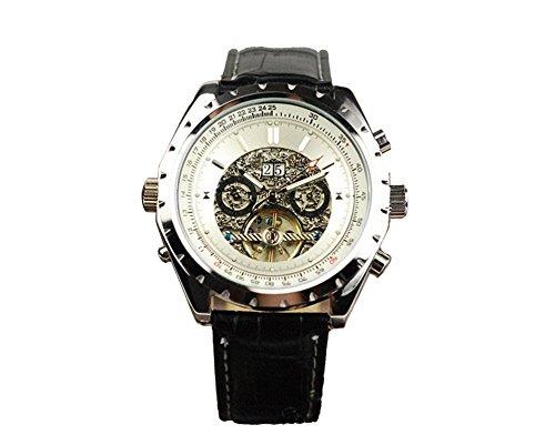 Jaragar Elegant Date Week Month Self-Winding Analog Mechanical Men'S Black Leather Wrist Watch
