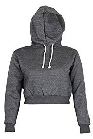 Womens Plain Crop Top Hoodies