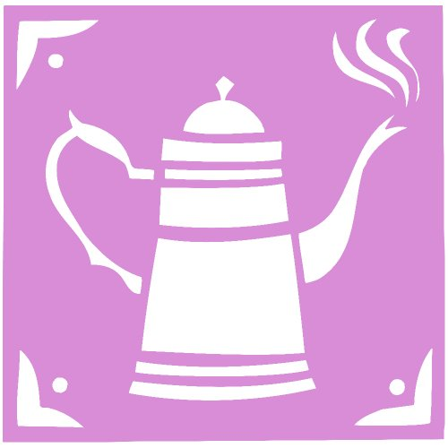 Cofee Tea Pot Kettle Decal Sticker (Pink, 5 Inch)