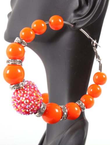 Orange Iced Out Disco Ball Lady Gaga Poparazzi Loop Basketball Wives Earrings
