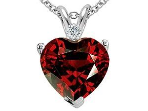 Tommaso Design Genuine 8mm Garnet and Diamond Heart Pendant 14k