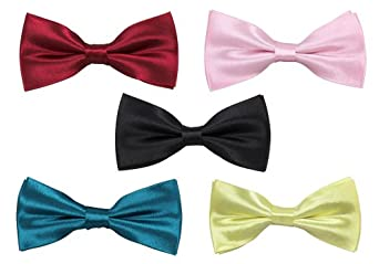 Bundle Monster Mens Tuxedo Solid Patterned Adjustable Neck Bowtie Bow Tie 5pc Assorted Lot Set - #1