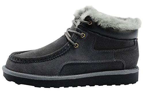 Rock Me Men's Thicker Wool Leather Flat Waterproof Ankle Snow Boots III (9 D(M) US, Gray)