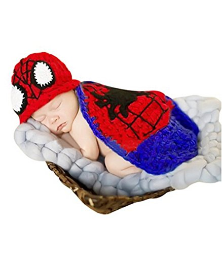 Crochet Baby Boy Spiderman Hat & Cape Set Costume Newborn Photo Props