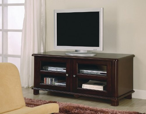 Cheap Coaster 700610 Contemporary TV Stand with Glass Doors, Cappuccino Finish (B004IYZUK4)