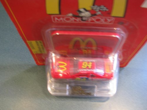 1996 Racing Champions Bill Elliott #94 McDonalds Monopoly Reeses Special Paint Scheme 1/64 Scale Car & Display Stand with Monopoly Medallion