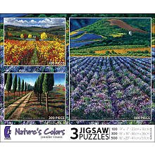Jennifer Vranes Nature's Colors 3-Pack 100 300 500 Pc Jigsaw Puzzle Set