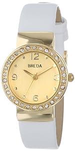 Breda Women's 2368-gold/white Jennifer Rhinestone Mini Bezel Slim Watch