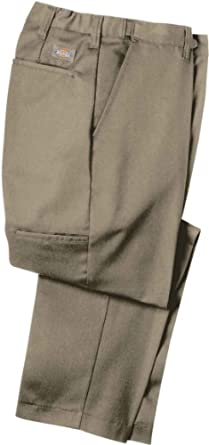 Dickies Occupational Workwear LP700DC Polyester/ Cotton Relaxed Fit Men's Premium Industrial Flat Front Comfort Waist Pant with Straight Leg, Dark Charcoal