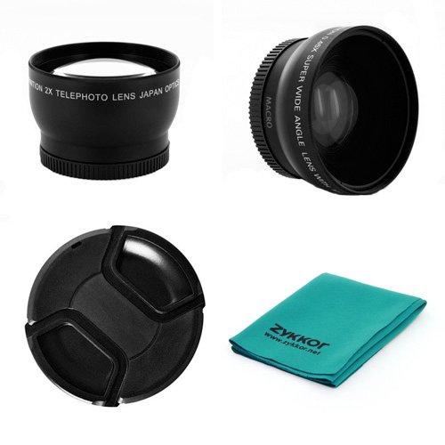 52Mm 0.45X Wide Angle + 2X Telephoto Lens Kit+ Cap + Cloth For Pentax K20D, K200D, K2000 (K-M), K-7, K-X, K-R, K-5 , Fits 18-55Mm Lens