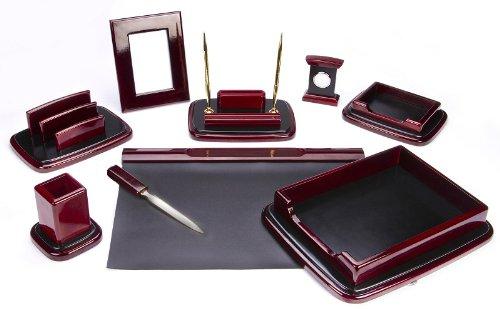 Majestic Goods Nine Piece Burgundy Oak Wood Desk Set Oak Desk Accessories