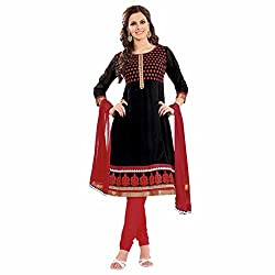 Ashika Women Georgette Dress Material (8525 _Black And Red _2)